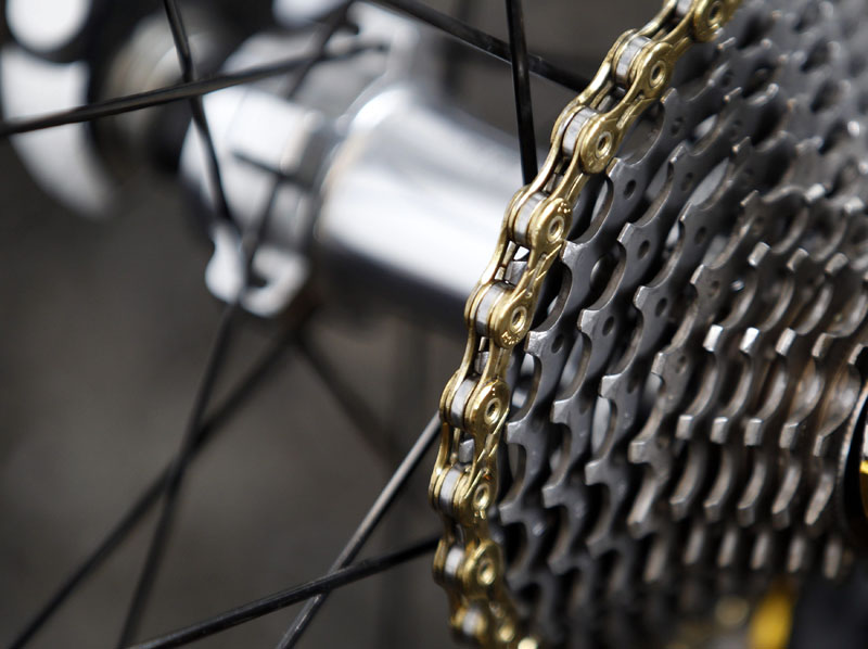The bicycle chain of Sanchez of Spain is seen the start of  the 15th stage of the Tour de France 2011 cycling race from Limoux to Montpellier