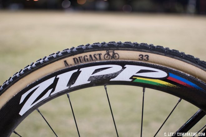Van Aert ran Andre Dugast Typhoon 33c tubulars with roughly 22.5 psi in the front and 24.7 psi in the rear. Zipp 303 Firecrest wheels were the wheel of choice. © C. Lee / Cyclocross Magazine